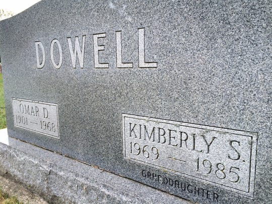 Kimberly Dowell's gravestone in a Muncie cemetery.