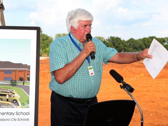 School board member Butch Campbell speaks during the Murfreesboro City Schools Groundbreaking for the city's 13th Elementary School on July 17.