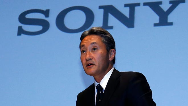 In this Wednesday, Sept. 17, 2014 photo, Sony Corp. President Kazuo Hirai leaves after a press conference at the company's headquarters in Tokyo.