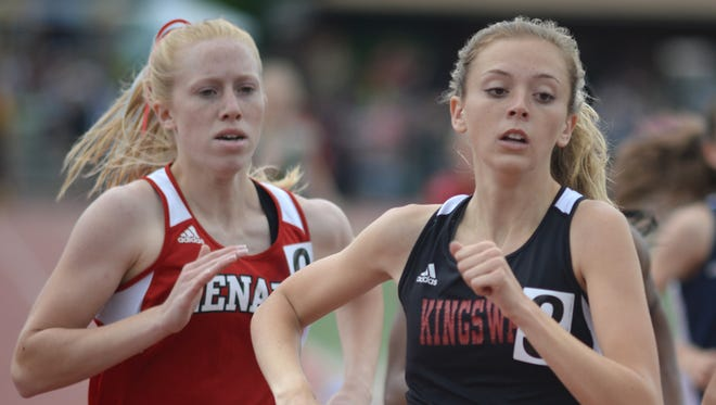 Kingsway's Rachel Vick participates in the girls Group 4 800-meter event during the NJSIAA Non-Public A, Group 1 and Group 4 Track and Field Championships at Egg Harbor Township High School on Saturday.