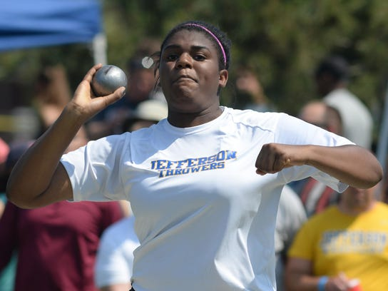 Jefferson's Stephanie Nwankwo puts the shot during