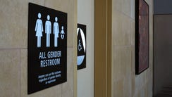 """An April 16, 2016, file photo shows an """"All Gender"""""""