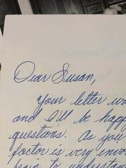 """""""Dear Susan,"""" begins a 1965 letter written by Amy Geishert's"""