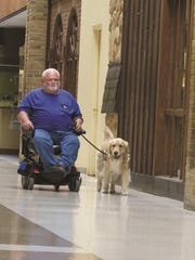 Jerry Buss, a Vietnam veteran, has a service dog named