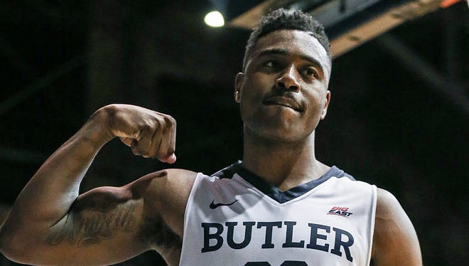 Butler Bulldogs forward Kelan Martin (30) flexes to celebrate an offensive play during second half action between Butler and Creighton at Hinkle Fieldhouse in Indianapolis, Tuesday, Feb. 20, 2018. Butler won on senior night, 93-70.