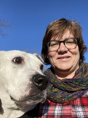 Mary Saup, with her pitbull, Lucy, has registered to participate in this year's WAG! Wilderness Walk over Labor Day weekend.