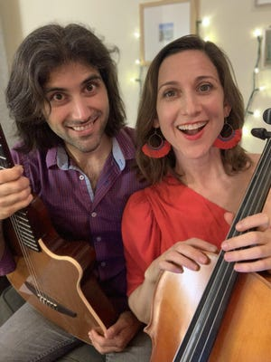 """Vocalist/cellist/songwriter Eleanor Dubinsky, right, and guitarist/composer Dario Acosta Teich will present an online concert of """"Jazz and More"""" for the Tiny Tent series at Payomet Performing Arts Center."""