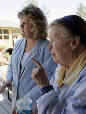 In this June 13, 2006 file photo, Ruth Ziolkowski discusses the ongoing Crazy Horse project with her daughter Jadwiga Ziolkowski.