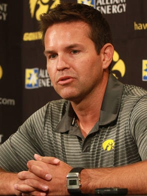 Iowa volleyball head coach Bond Shymansky discusses the upcoming season during media day at Carver-Hawkeye Arena on Tuesday, Aug. 19, 2014. David Scrivner / Iowa City-Press Citizen