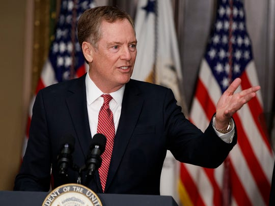 In this May 15, 2017, photo, U.S. Trade Representative Robert Lighthizer speaks in the Eisenhower Executive Office Building on the White House complex in Washington during his swearing-in ceremony. Lighthizer sent a letter to congressional leaders on Thursday, May 18, starting 90 days of consultations with lawmakers over how to revamp the North American Free Trade Agreement with Canada and Mexico.