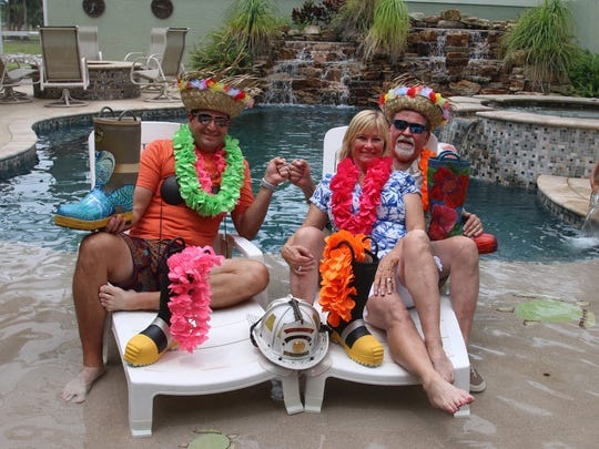 """Event Sponsor A&G Concrete Pools owners Travis Leonard and Sandee and Art Allen are ready for the 2018 """"Flip Flops and Leis"""" fundraiser June 21 at the River Walk Center in Historic Downtown Fort Pierce."""