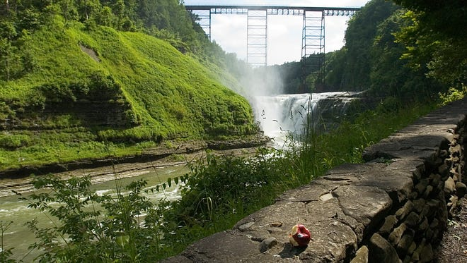 The trail along the Upper Falls in Letchworth State Park is a popular site with visitors.