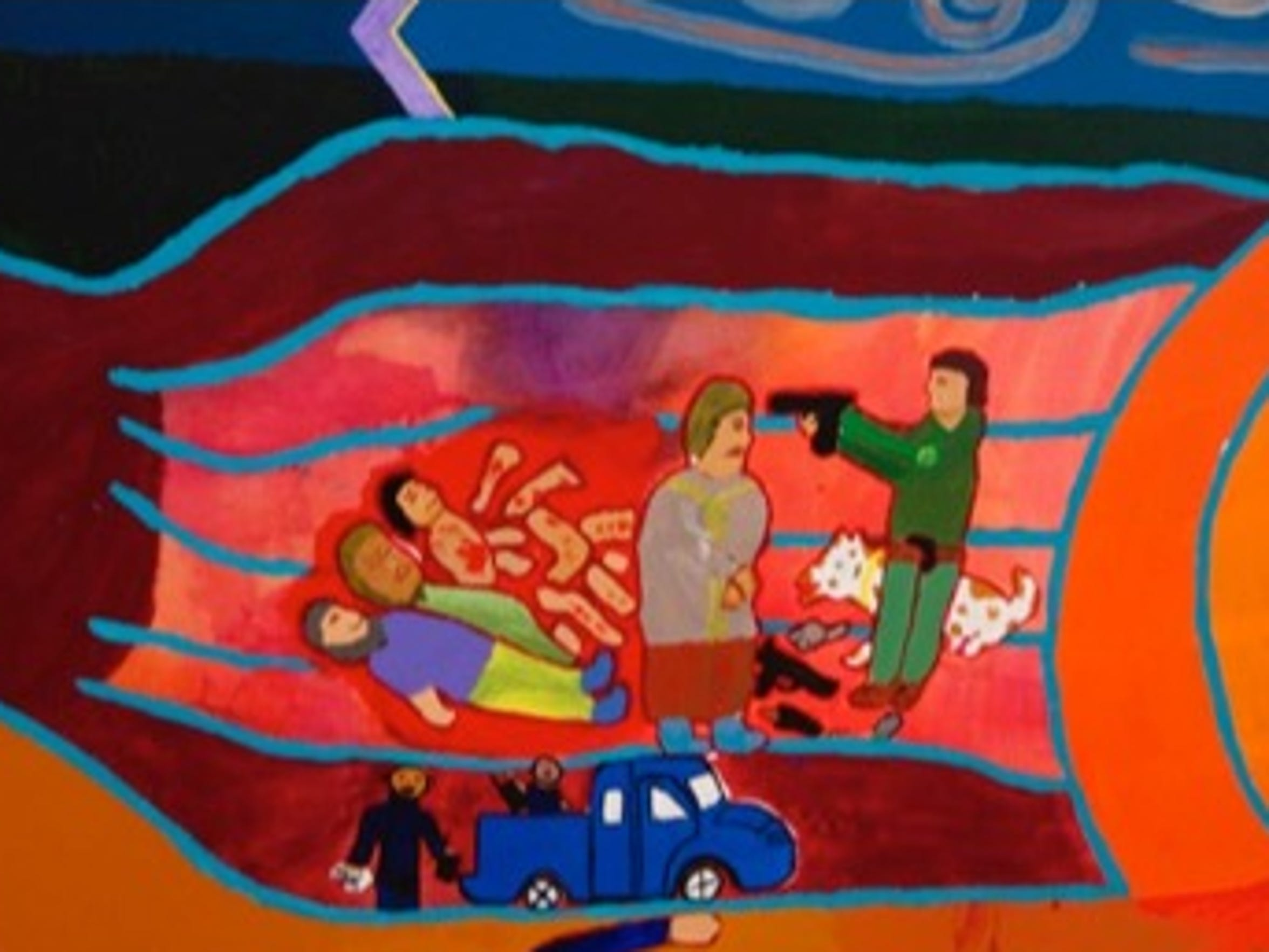 One boy watched cartel members kill and dismember its victims. He fled to the United States and was transported to a secure facility in Augusta County to await his day in court seeking asylum. HIs depiction of his experiences is part of the Second Chances mural.
