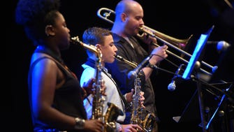 """Final concert of the 2016 Summer Jazz Workshop at William Paterson University. Jayla Brown, Noah Habermas-Hirsch and jazz director Collin Banks filling in on trombone while playing """"Impressions"""" by John Coltrane."""