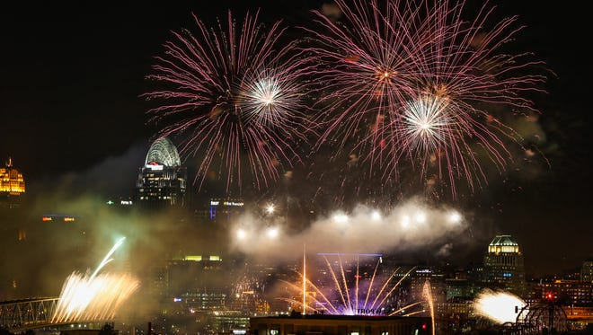 Rozzi's Famous Fireworks glitter over the Cincinnati skyline during the 2015 Western & Southern / WEBN Firework show presented by Cincinnati Bell.