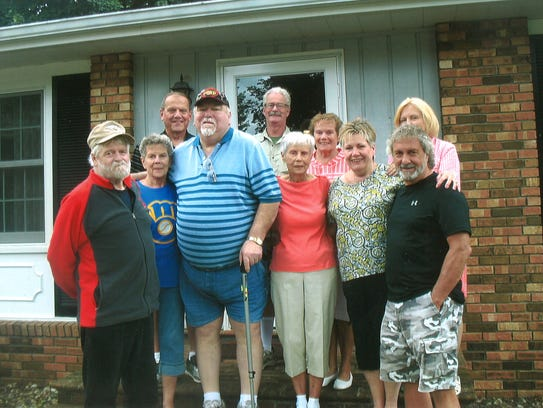 Pictured is Hall's family, when they met with his fellow veterans on a trip to Fond du Lac.