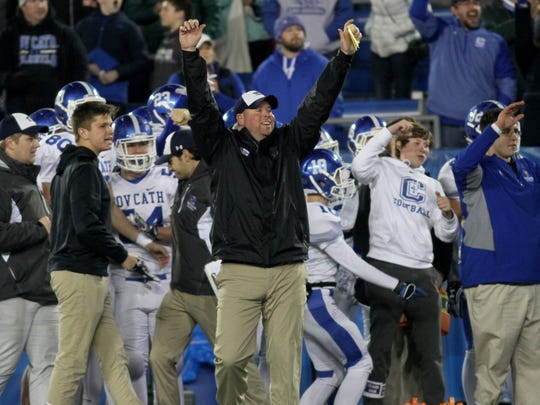 Covington Catholic's head coach Eddie Eviston reacts during the Colonels win  in the state championship game , Saturday, Dec. 2, 2017.