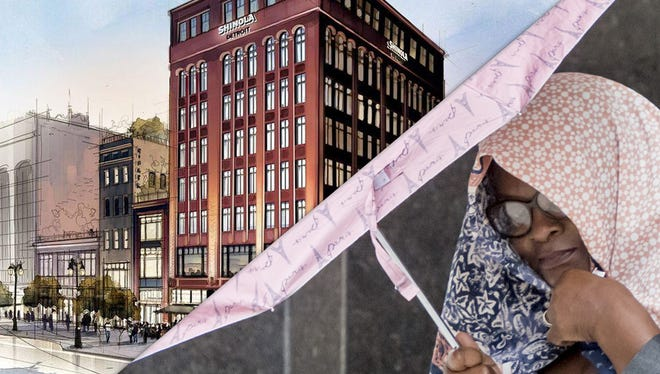 Bedrock rendering of Shinola hotel; Willye Pearsall, former principal at Thurgood Marshall Elementary School, who received 15 months in prison after pleading guilty of taking $50,000.