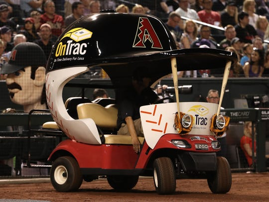 The bullpen cart provided by the Diamondbacks.