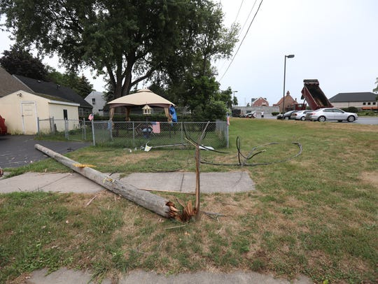 A utility pole was toppled in Greece on July 24, 2018,