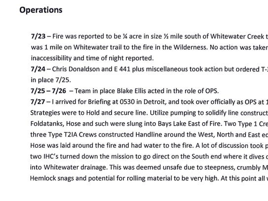 Time line of Whitewater Fire from fire teams working