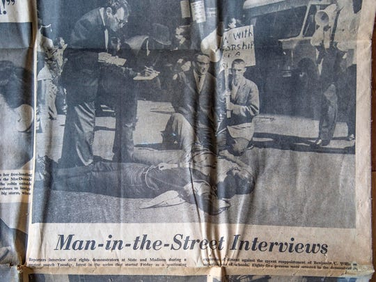 Northern marches: One of Warner White's press clippings from Civil Rights marches he participated in in the 1960's. Pictured is a copy of the Chicago Daily News on June 16, 1965.