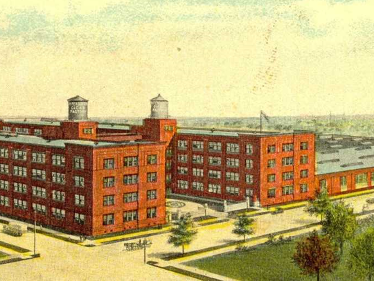 A postcard depicts the Fendrich Cigar factory on Oakley Street.