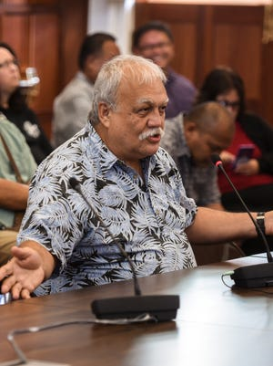 In this June 1 file photo, Ken Leon-Guerrero, Guam Citizens for Public Accountability spokesperson, testifies before lawmakers during a public hearing at the Guam Legislature.