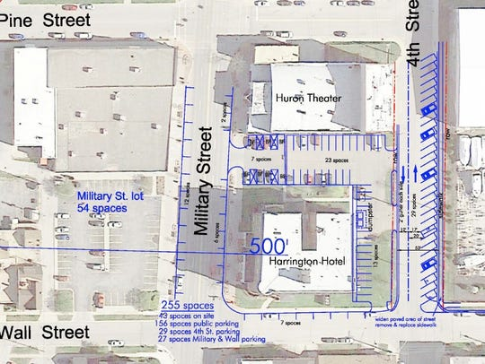 A mockup shows additional parking proposed behind the