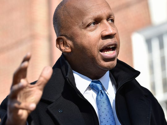 Bryan Stevenson, of Milton, in Dover Thursday speaks