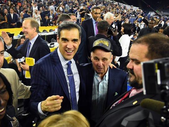 Villanova coach Jay Wright with Rollie Massimino, who