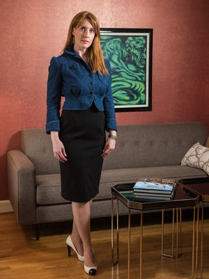 Stylemaker Lauren Cavanaugh, photographed in the living room of her home in Middletown.