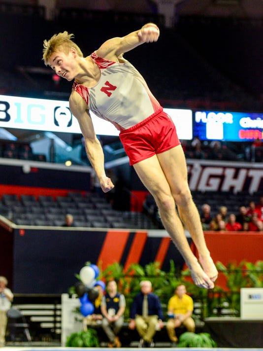 Nebraska gymnast Anton Stephenson of Fishers.