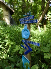 Part of The Blue Loop installation in the wooded lot