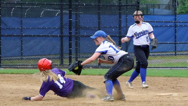 Narragansett Regional second baseman Avery LeBlanc (10) moves to apply a tag on Monty Tech's Cassie Skinner during a 2019 Central Mass. Division 3 semifinal playoff game at Worcester State's Rockwood Field. LeBlanc played four seasons on the Warriors' softball team and will further her education by attending Worcester State University in the fall.