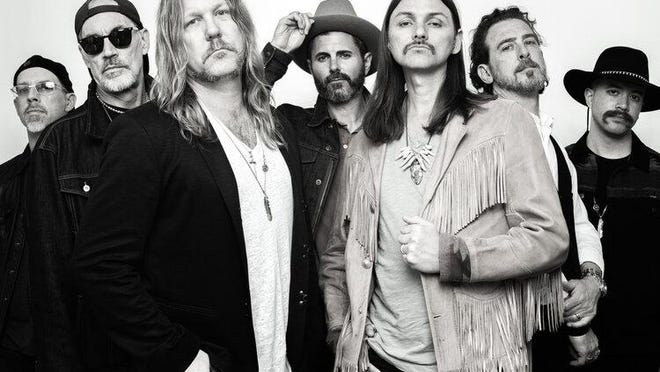 The Allman Betts Band includes Devon Allman & Duane Betts (front) on guitars and vocals, Berry Oakley Jr. on bass (back row, from left), Johnny Stachela on slide guitar, John Ginty on Hammond B3 and Devon Allman Project percussionists R. Scott Bryan and John Lum.