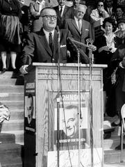 Vice-presidential hopeful and future president Lyndon B. Johnson takes the podium at Fairleigh Dickinson University in Teaneck, Oct. 3, 1960.