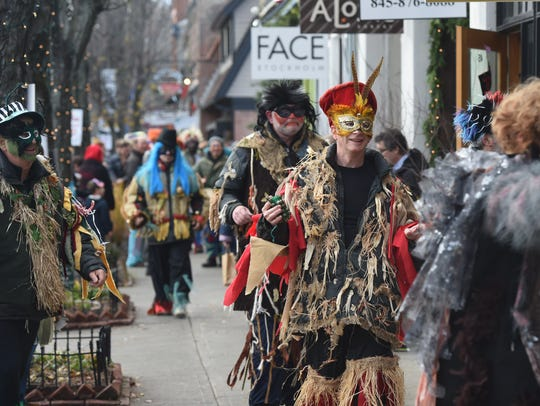 Sinterklaas participants fill the streets of Rhinebeck during a past event.