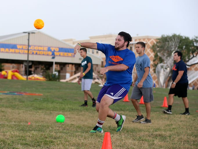 Angelo State University students participate in a game