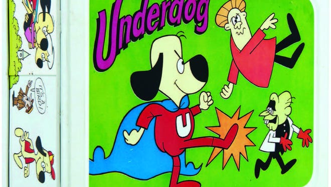 Underdog is pictured on this metal lunch box and matching thermos that auctioned for $2,296. The comic character has remained popular since the 1950s because of television reruns.