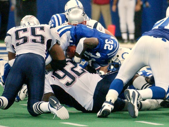 The Colts lost 38-34 on Nov. 30, 2003, when Edgerrin James was stopped on a fourth-down run from the 2. Patriots linebacker Willie McGinest, who had left the game with an injury not long before, helped on the tackle and sprinted to midfield to celebrate.
