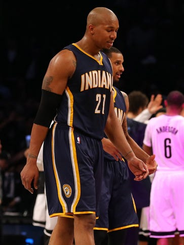 David West (21), George Hill and the Pacers have lost