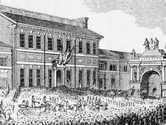 The Marquis de Lafayette visited Philadelphia in 1824. The crowd is an example of the reception Lafayette received around the U.S.