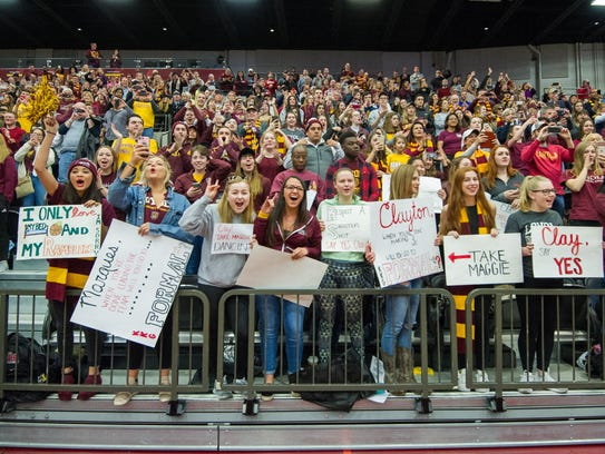 Loyola Ramblers fans celebrate at the Gentile Arena