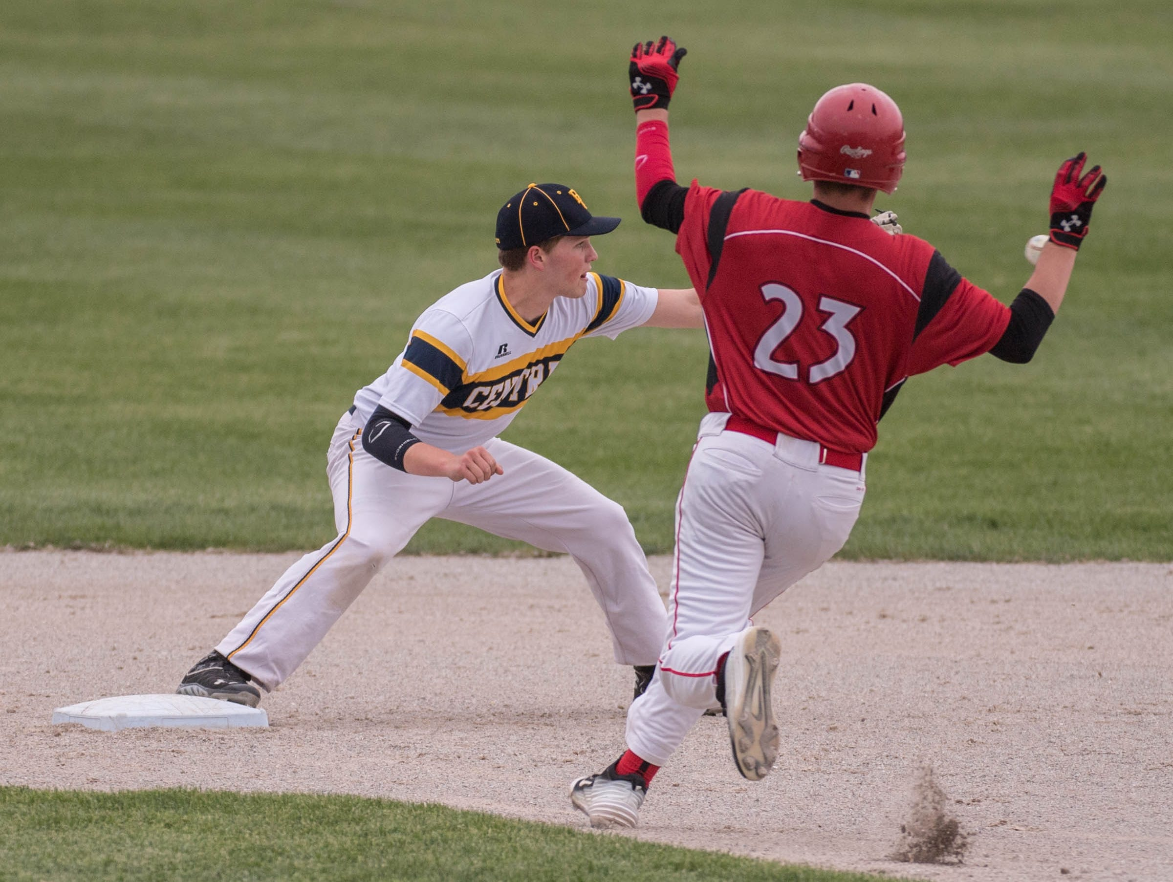 St. Philip's Zach Nelson makes it to second during action earlier this season in a game against Battle Creek Central.