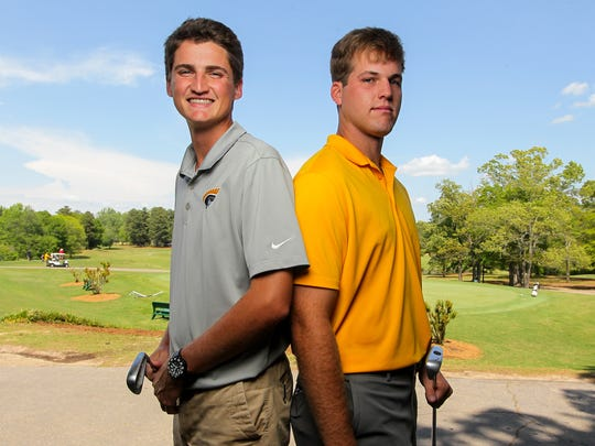 Weston Bell, right, and his brother Grayson Bell of the Anderson University golf team, before practice at Cobbs Glen in Anderson on Thursday.