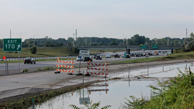 The ramp to Six Mile from southbound I-275 Wednesday morning. It was closed after flooding overtook the ramp for about 24 hours. The ramp reopened Wednesday.