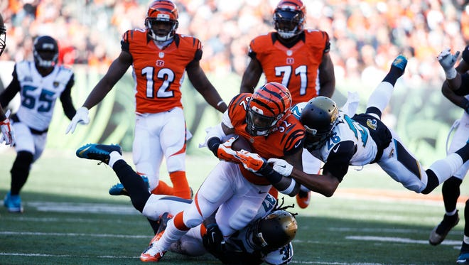 Bengals running back Jeremy Hill (32) is tackled during Sunday's win against Jacksonville.