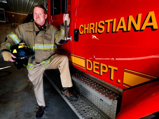 Dewayne Sadler, a Christiana volunteer firefighter and outgoing President for the Christiana Volunteer fire station at the station, on Wednesday Nov. 29, 2017,