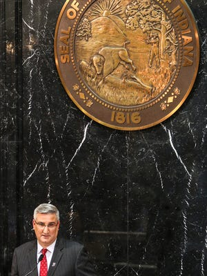 "Gov. Eric Holcomb delivers his second State of the State address as Indiana Governor, at the Indiana Statehouse, Indianapolis, Tuesday, Jan. 9, 2018. Holcomb cited re-training Indiana workers as his administration's top priority, in order to fill an estimated 85,000 unfilled jobs. Holcomb called it ""the defining issue of the decade"" and set a goal for the coming year to educate or retrain 55,000 Hoosiers who don't have a high school diploma or didn't finish college."